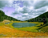 the Great Divide - Poudre Lake - Rocky Mountain National Park - Colorado - violet skies - spruce and pine trees - 8x10 color matte print