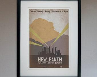 Retro Sci-Fi New Earth Travel Poster - 13x19 Print