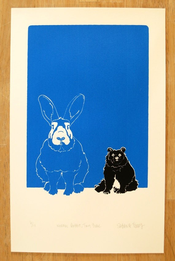 Normal Rabbit, Tiny Bear - Small Limited Edition, Hand-pulled screen print of a rabbit and bear and their relationship, blue, black, white.