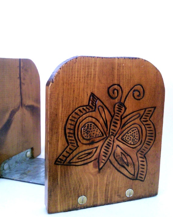 Wood Burned Butterfly Bookends