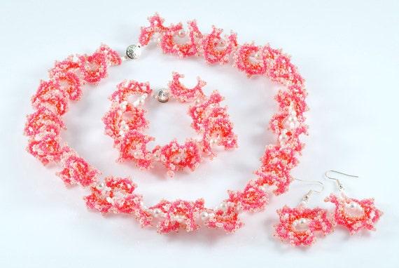 Seed bead necklace,earrings,bracelet.set