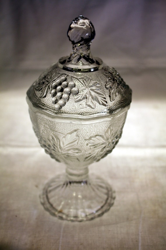 Indiana Glass Crystal Sandwich Glass Footed Candy Dish with lid in the Harvest Grape Pattern