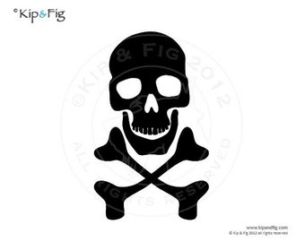 Pirate skull & cross bones applique template - pdf applique pattern