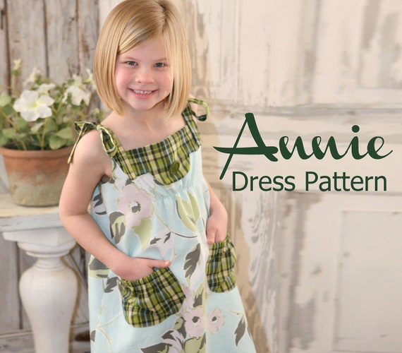Annie Vintage Style Girls Dress PDF Pattern Tutorial, Easy Sew sizes 12m thru 8 included
