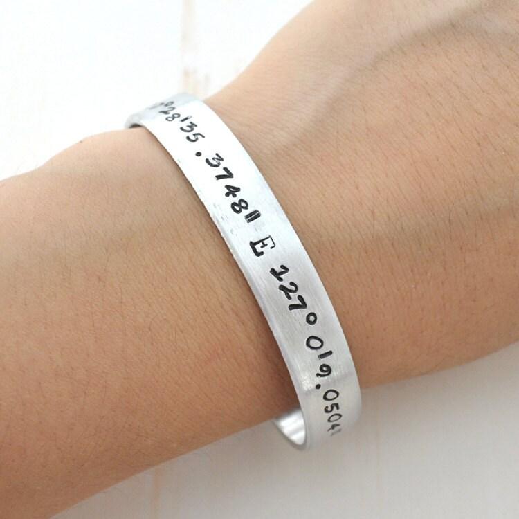 latitude longitude bracelet sted cuff gps by