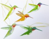 Christmas Ornaments - Hummingbirds - Original Art - Paper Ornaments - 5 for 25