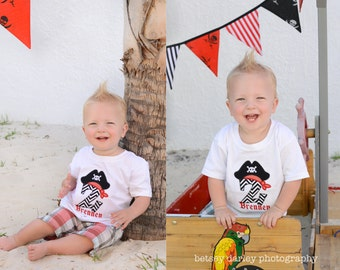 Pirate Birthday Number Shirt, Pirate Alphabet Shirt, Pirate Hat Chevron T-Shirt or Bodysuit Personalized