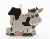 Adorable Vintage Cow Handpainted Ceramic Paper Towel Holder