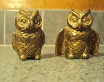 Solid brass owl set