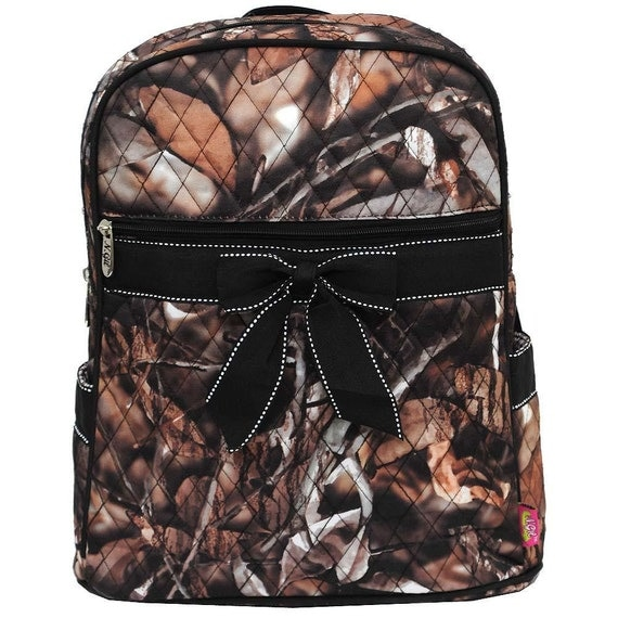 Personalized Large Quilted Camo Backpack with Black Trim