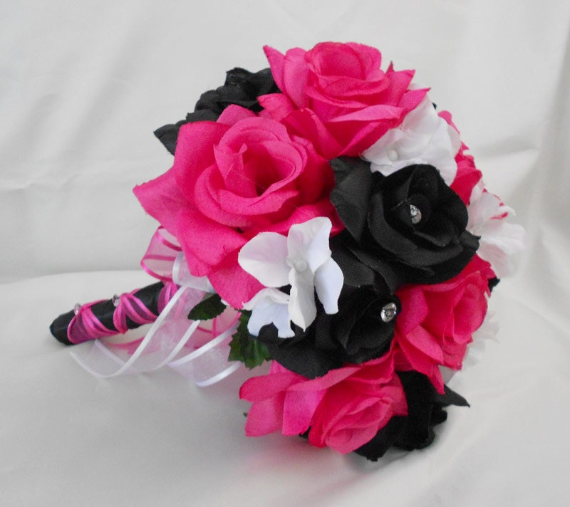 Dark Pink Wedding Flowers: Maid Of Honor Hot Pink Black Light Pink Roses Bouquet