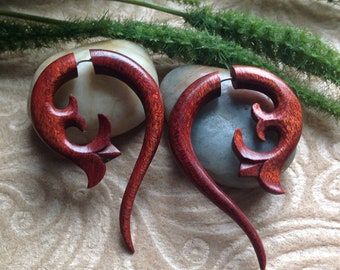 Fake Gauge Earrings - Exotic S. American Bloodwood - Naturally Organic - Hand Carved -Tribal