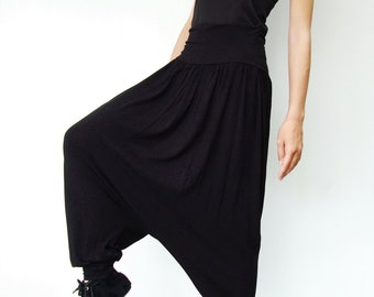 NO.74 Black  Rayon  Spndex Harem Yoga Pants, Casual Low Dropped Crotch Capri Trousers