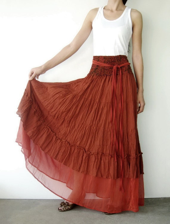 NO.36 Rust Cotton Tiered Peasant Skirt, Long Maxi Skirt