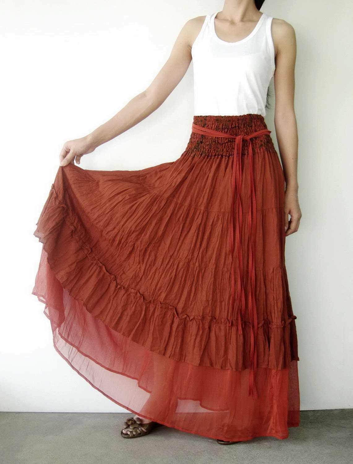 NO.36 Rust Cotton Tiered Peasant Skirt Long Maxi Skirt