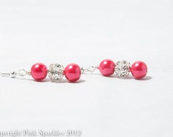 Red Pearl Rhinestone Earrings