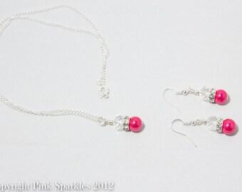 Fuchsia Pearl Jewellery Set Pearl and Crystal Jewellery Set , Necklace and Earrings Set, Bridesmaid Jewellery, Wedding Jewellery,