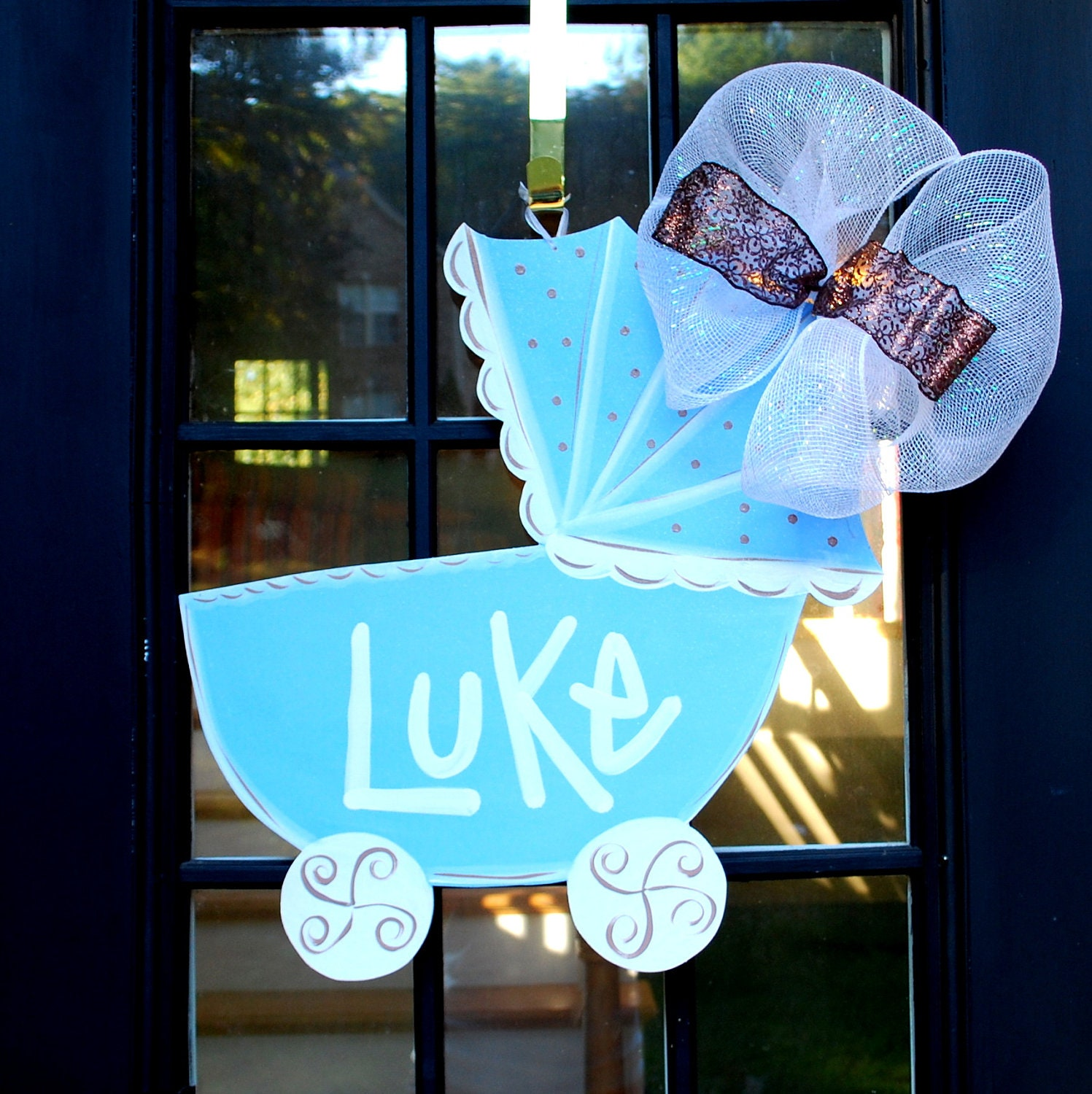 Baby boy hospital door decoration baby carriage by for Baby girl hospital door decoration