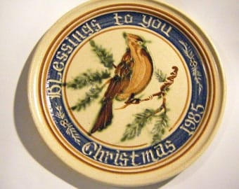 1985 Stoneware Christmas Plate Blessings To You