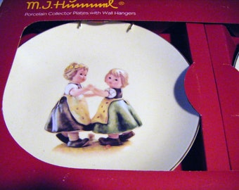 SET OF TWO Hummel Porcelain Collector Plates With Wall Hangers Original Packaging