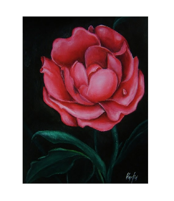 Red Rose Original Acrylic Painting On Canvas by almondtreeart
