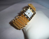Wire Coiled Gold Plated Watch Bracelet/ Best Friend Gift Bangle Watch