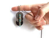turquoise and brown necklace // brass pendant