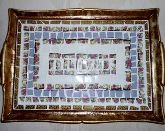 """18"""" X 12.5"""" MOSAIC-ed TRAY / Made with gold & fine Limoges porcelain / Matching Mirror"""