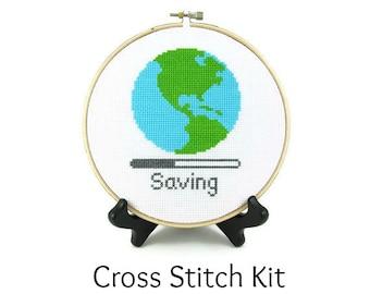 Saving Planet Earth Cross Stitch KIT