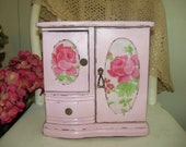 Upcycled Vintage Wood Shabby and Distressed Jewelry Box, Hand Painted in a Light 'Ballet' Pink with Rose Print Doors