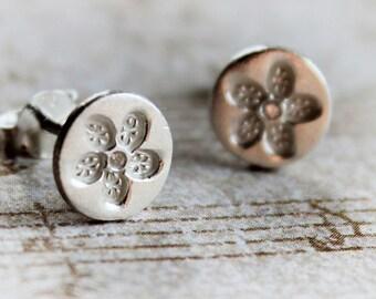 Silver Earrings - Silver Jewelry - Sterling Silver Earrings - Handmade - PMC Silver Jewelry - Metal Clay - Silver Post Earrings