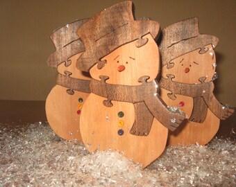 wooden snowman puzzle