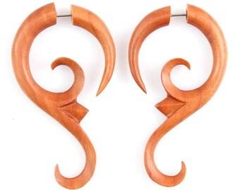 "Fake Gauge - Wood Tribal Post Earrings - Fake Piercing Jewelry - ""Sawo Baby Vine"" Hand Carved Sawo Wood Earrings - Fake Gauge Earrings"