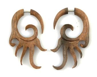 "Fake Gauge - Wood Tribal Plugs Fake Piercing - ""Sun Fire Spirals"" Fake Gauge Earrings - NoHolesBarred Fake Plug Wood Jewelry"