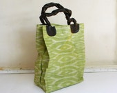 BAYONG - lime green ikat tote bag