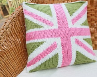 knitted cushion cover, union jack cushion cover, union jack pillow, green pink white cushion