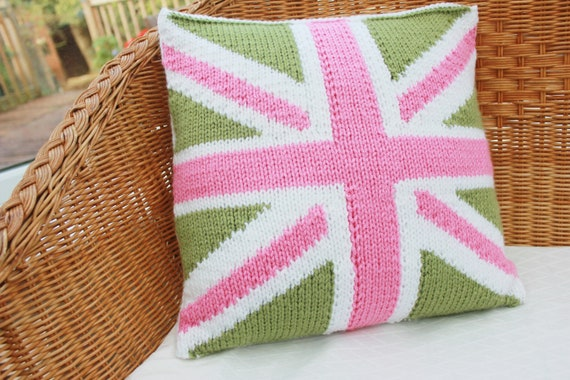 knitted cushion cover union jack cushion cover by WoollyBudgie