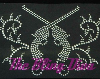 Crossing Pistol Guns with Swirls Rhinestone Transfer Iron On Bling