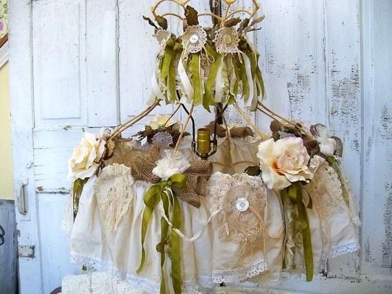 RESERVED TILL MONDAY Ornate lampshade heavily adorned roses tattered lace lighting home decor ooak Anita Spero