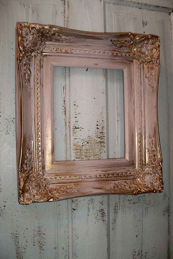 pink gold wood frame vintage ornate heavy wood 8 by 10 shabby. Black Bedroom Furniture Sets. Home Design Ideas