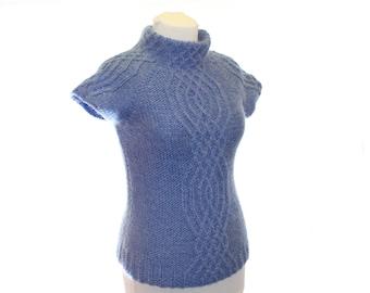 Knitted Waistcoat  / blue / women waistcoat  /  aran waistcoat