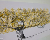 Tree House Screen Print - Special Autumn Limited Edition '123 Apple Tree'