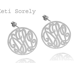 14K White Gold Handcrafted Monogrammed Earrings Medium Size (order any initials)
