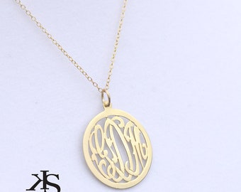 Designer Initials pendant Medium size (Order Any Initials) - Sterling Silver and Gold