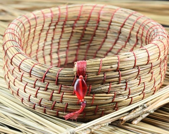 Rustic Handmade Small Coiled Pine Needle Basket Maple Leaf Burned Leather Center Bead Accent