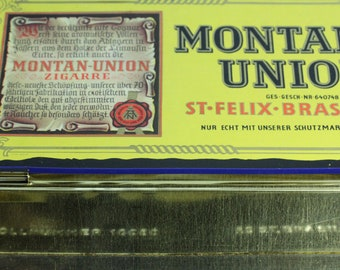 Montan-Union Brasil Vintage Blue and Gold Tobacco Tin Box Container