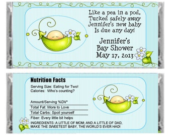 "Personalized ""Pea in a Pod"" candy bar wrapper - Baby Shower Favor - baby Girl Boy Shower - set of 6"