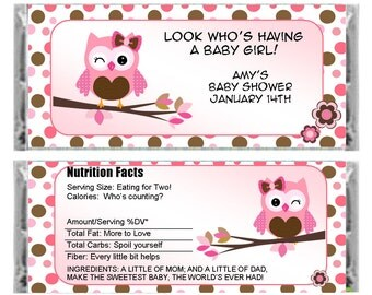 Personalized Pink OWL candy bar wrapper - Baby Shower Favor - baby Girl Shower - set of 6
