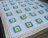 Crochet Flowers Baby Blanket Granny Square White Yellow Green Turquoise Blue Spring Summer Home Decor by dodofit on Etsy