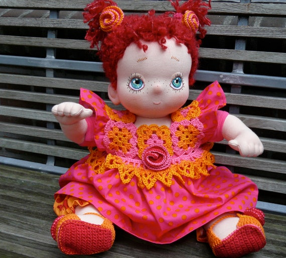 Nienke, a Handcrafted Soft Cloth Baby Doll, to Play and Cuddle with
